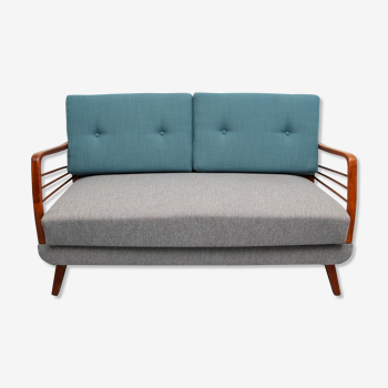 1950s sofa/daybed in grey and petrol