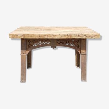 Table en fonte anglaise industrielle antique