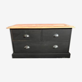 Meuble style de métier commode bois brut noir mat