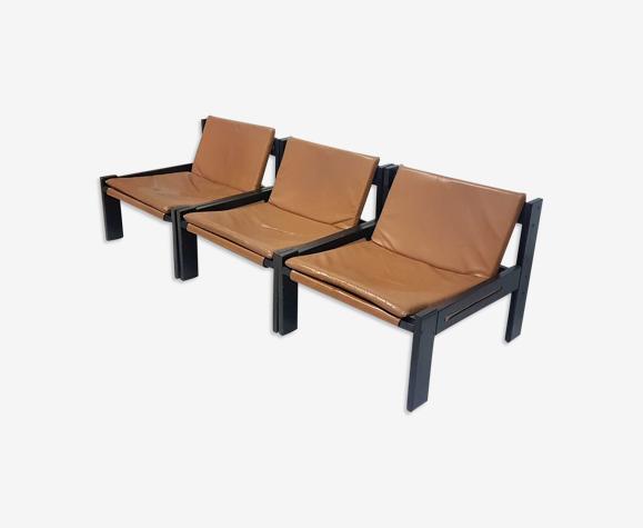 Chaises longues minimalistes en bois, toile et cuir, années 1960