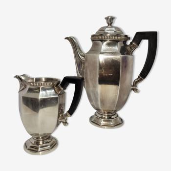Teapot plus silver metal milk pot