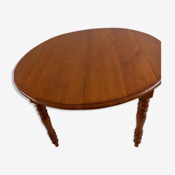Table ronde merisier massif 2 rabats