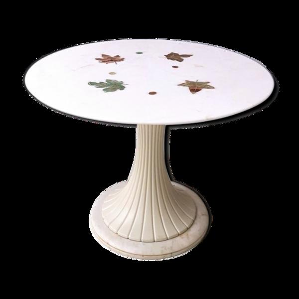 Selency Table de salle à manger ronde tulipe par Osvaldo Borsani avec un plateau en marbre rose portugais 1950s