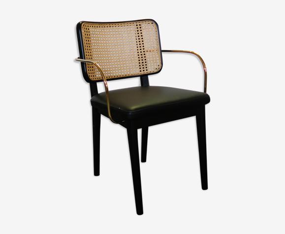 Chaise cannage noir accoudoir cuir