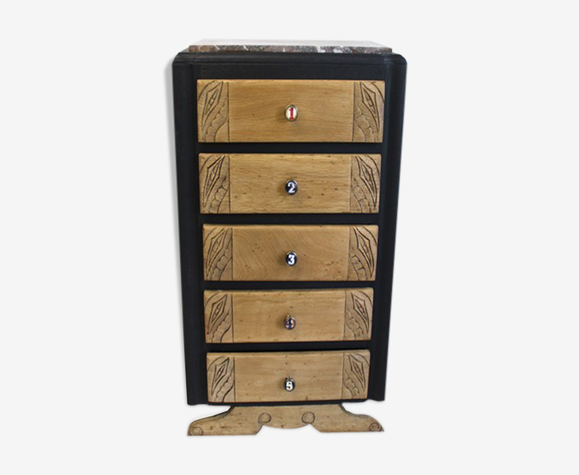 Chiffonnier 5 tiroirs chiffres noir et bois