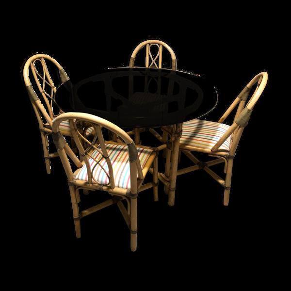 Selency Ensemble table ronde et 4 chaises en rotin années 1980