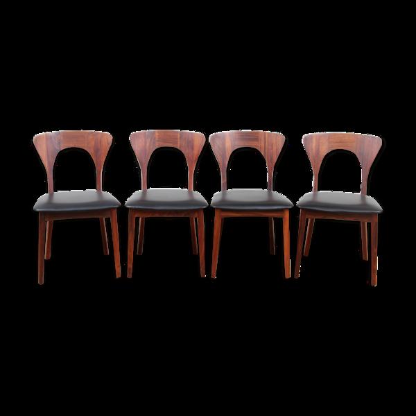 Selency Suite de 4 chaises scandinaves en palissandre de Rio Modèle Peter