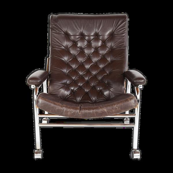 Chaise lounge en cuir et chrome 'Bore' de Noboru Nakamura, années 1970