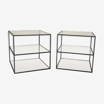 Set de tables bouts de canapé contemporain métal noir et verres sur 3 niveaux