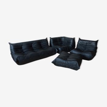 Black leather Togo set by Michel Ducaroy for Ligne Roset