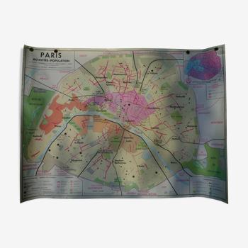 Carte d'école ancienne géographie Paris