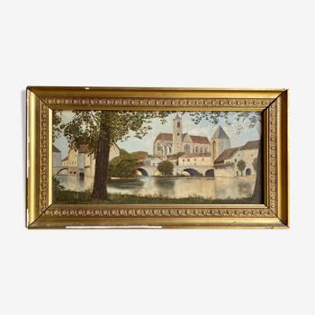 Tableau ancien , paysage à la rivière signé et daté 1946