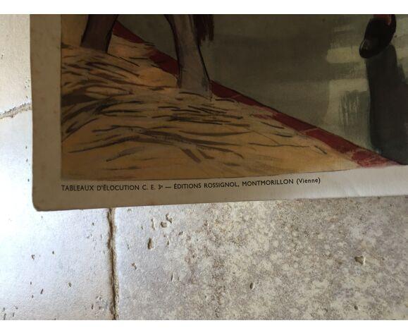 Affiche scolaire pédagogique édt. Rossignol recto Le Jardinage verso La traite des vaches
