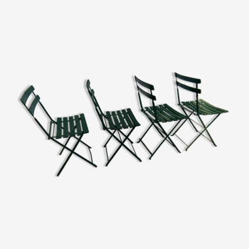 Lot de 4 chaises de bistrot jardin pliantes en bois et fer