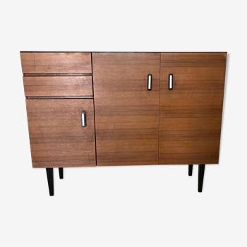 Meuble-buffet de rangement vintage 1960's 3 portes 2 tiroirs