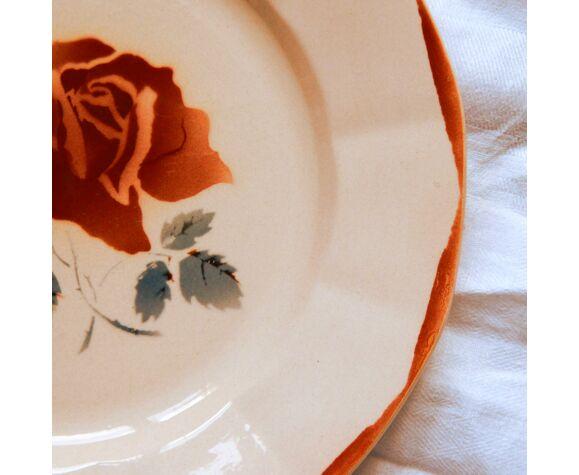Lot de 6 assiettes plates fleuries faïence ancienne Digoin Sarreguemines modèle 9181 vieux rose