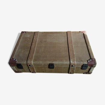 Grande valise ancienne bois toile et cuir