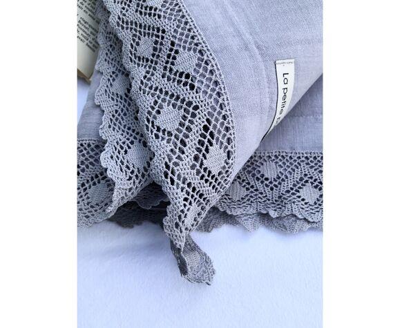Drap ancien en pur lin lavé teinté en gris silex
