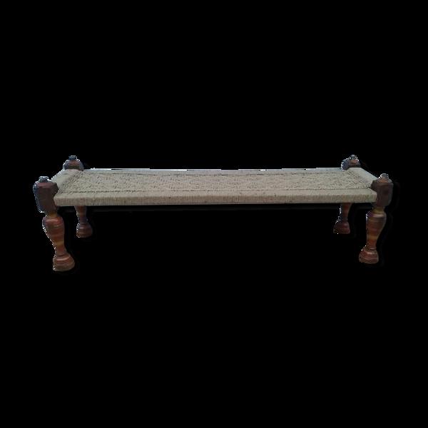 Banc charopy en tek avec assise en jute tressée