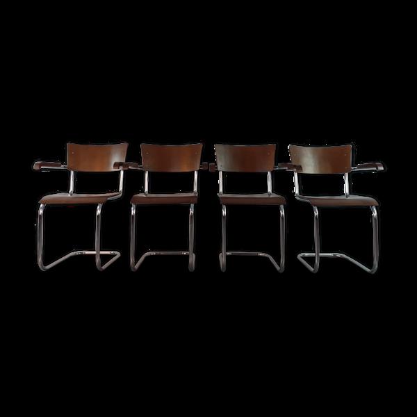 Selency Set 4 chaises K10 Mart Stam par Slezak bauhaus Tchécoslovaque 1930s