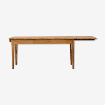 Table chêne brut avec rallonge – pied fuseau « orchidée »