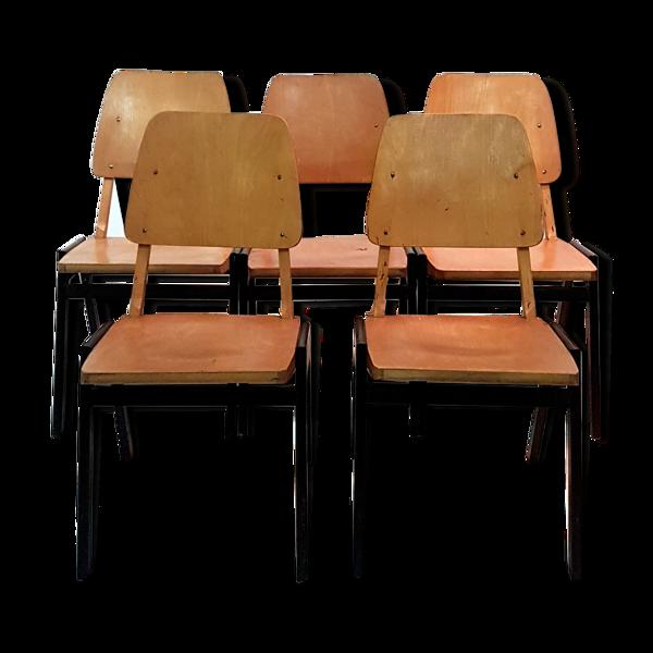 Lot de 5 chaises, années 50