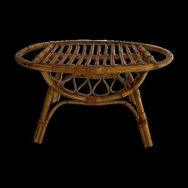 Table basse ovale en rotin, Italie années 50