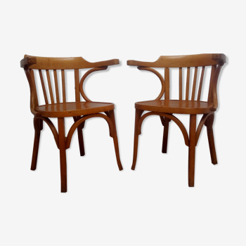 Pair of bistro armchairs