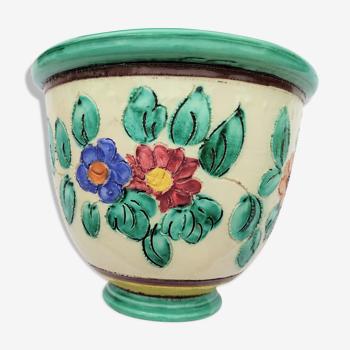 Cache pot in cerart's cerart to monaco ref: 3-811 polychrome decor floral