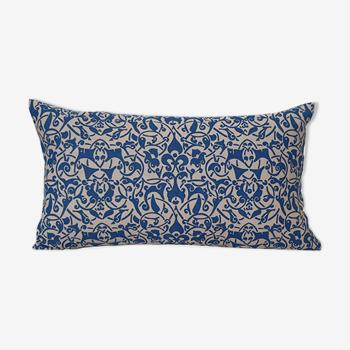 Housse de coussin Etnik taupe bleu canard - 30 x 50