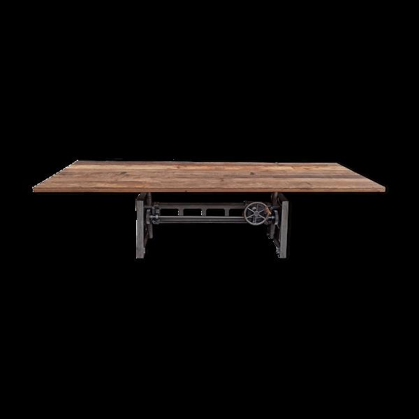 Table à manger réglable en hauteur en bois avec pieds en fonte