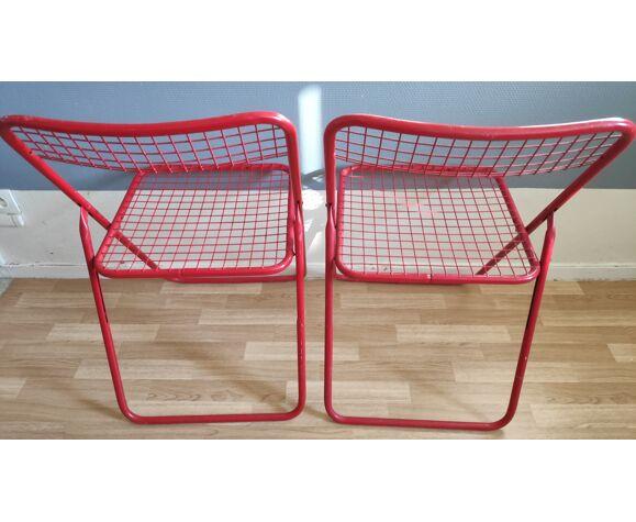 Chaises rouges pliantes en métal vintage