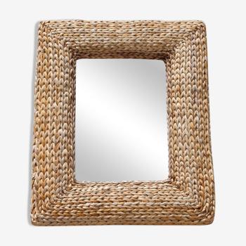 Miroir vintage cadre bois paillé raphia années 50