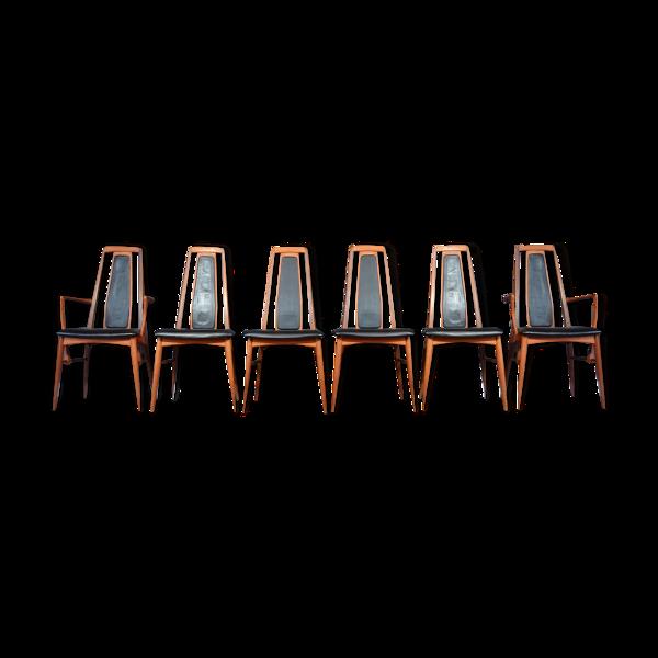 Selency Lot de 6 chaises Eva par Neils Koefoed du Danemark en afromosia