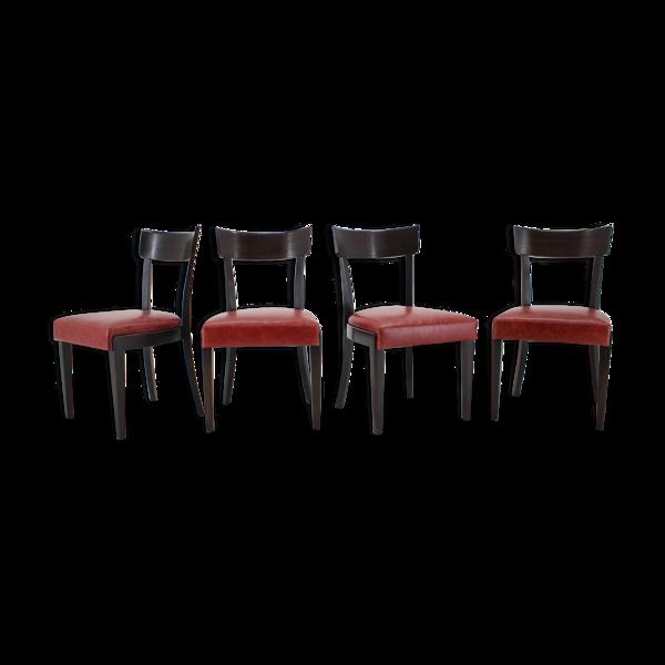 Selency Ensemble de 4 chaises en cuir par Up Czechoslovakia, années 50