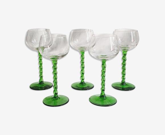 Ensemble de 5 verres Alsace en cristal pieds torsadés
