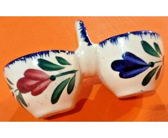 Salière faïence bretonne céramique à décor floral