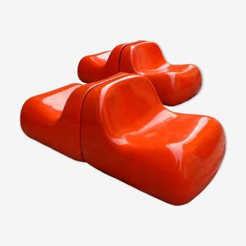 Fauteuils Jumbo design Alberto Rosselli pour Saporiti Italie année '68