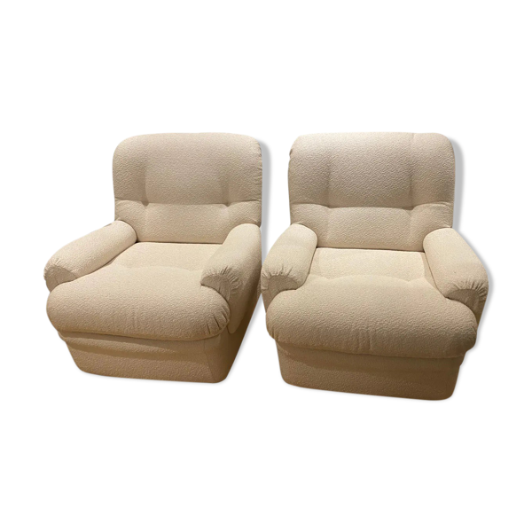 Set de 2 fauteuils tapissés bouclette
