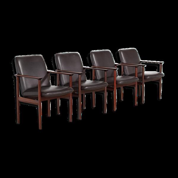 Lot de 4 fauteuils en cuir danois 1960