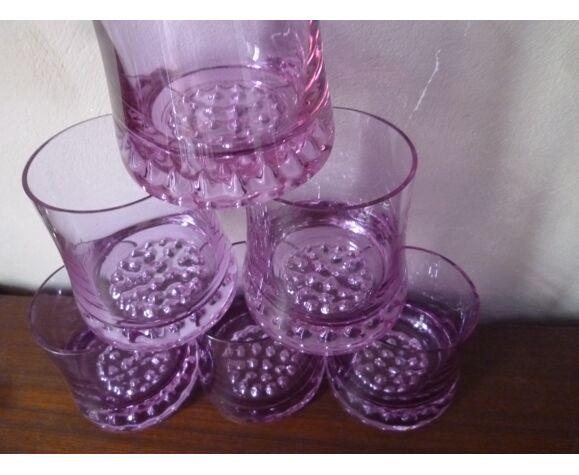 Lot de 6 verres à apéritif en cristal mauve