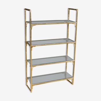 Italian bookshelf in golden metal with glass shelves