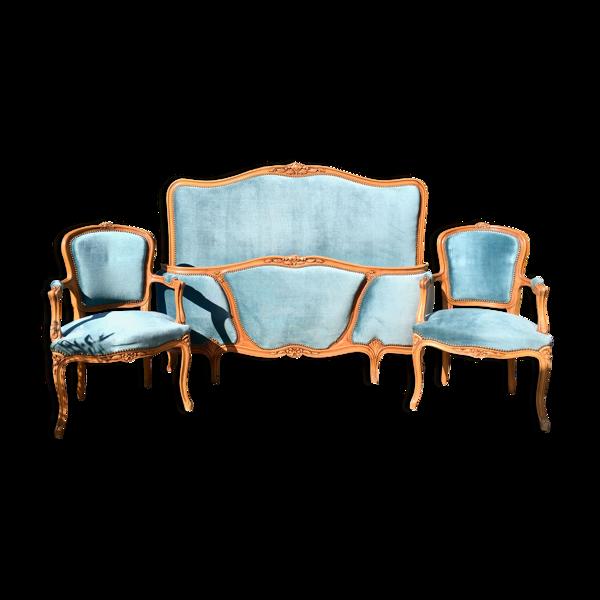 Ensemble lit corbeille et 2 fauteuils cabriolet style Louis XV