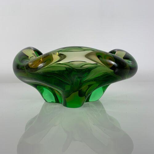 Cendrier vide poche en verre vert Murano