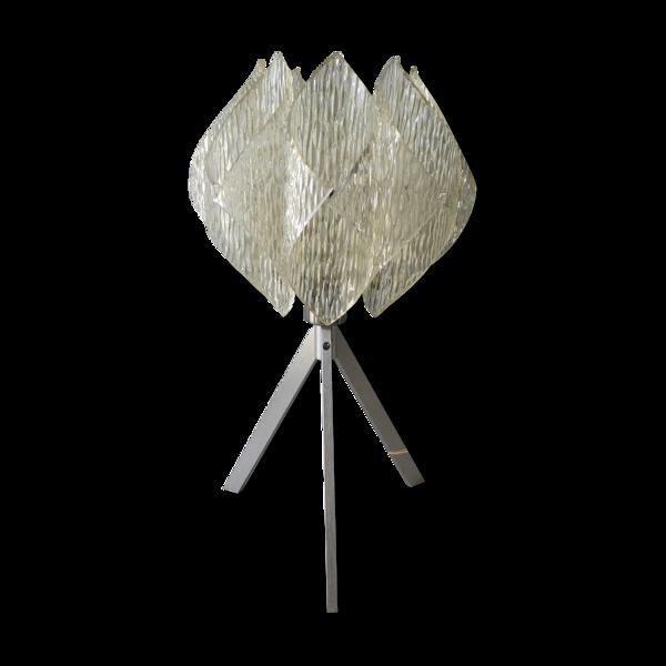 Lampe des années 70 en métal et plexiglas effet givré