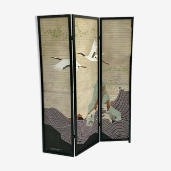 Paravent japonnais 3 ventaux 1990 morita designs ltd papier peint japonais