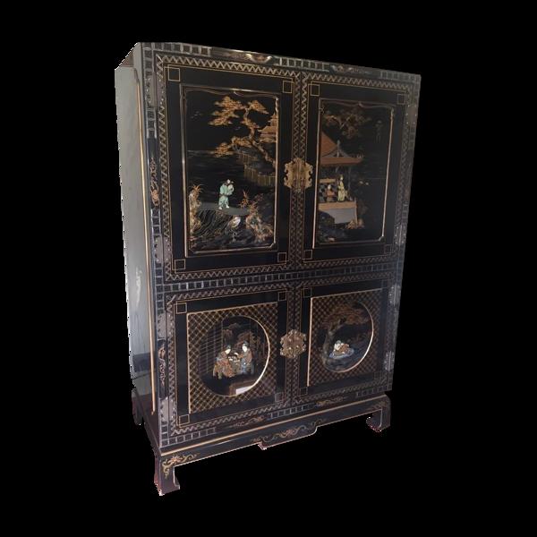 Cabinet armoire chinoise noir laque année 1970