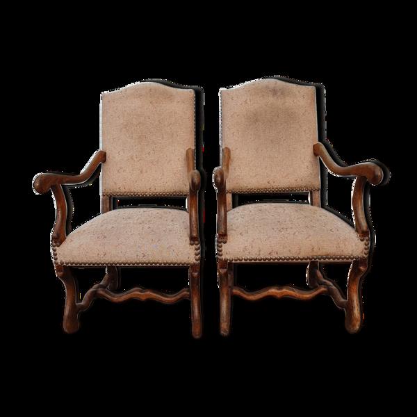 Paire de fauteuils style Louis XIII