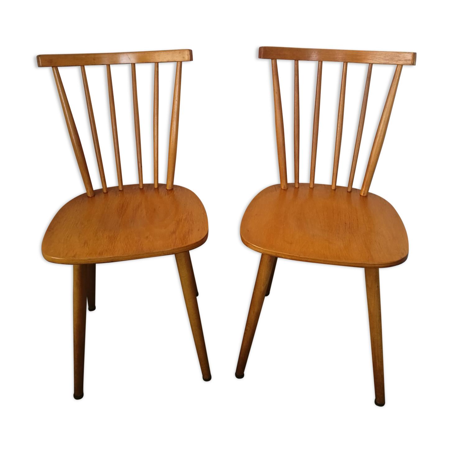 Paire de chaises à barreaux scandinaves