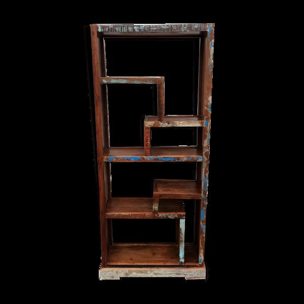 Selency Bibliothèque originale en bois coloré